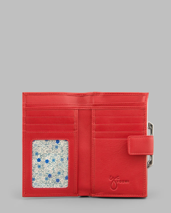 Y by Yoshi Red Leather Flap Over Frame Purse A