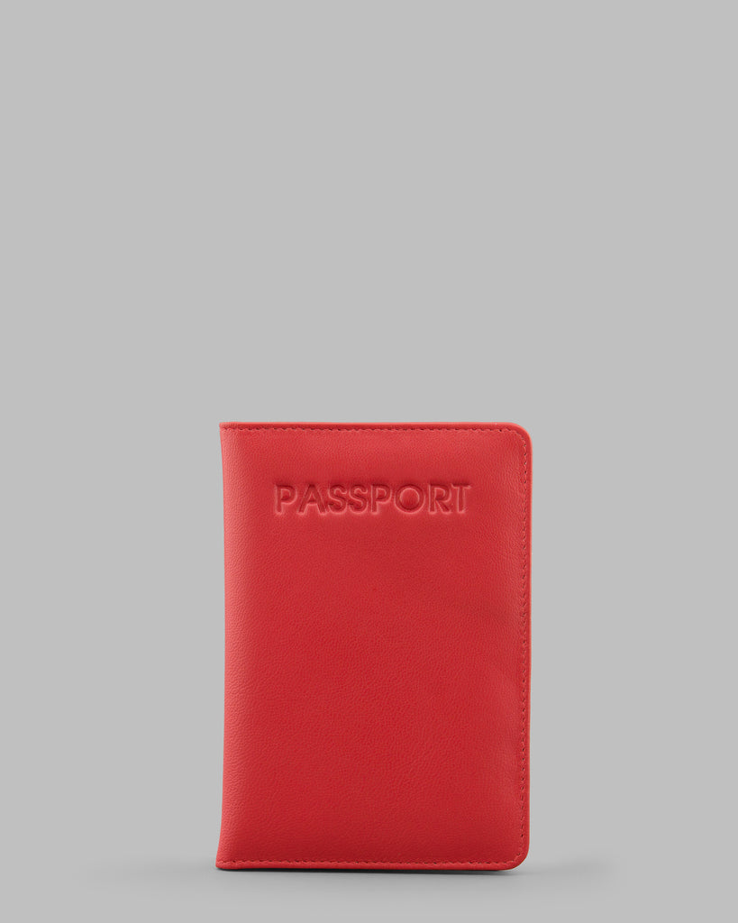 Red Leather Passport Cover - Red - Y by Yoshi