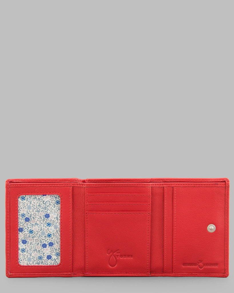 Zip Around Red Leather Purse - Red - Y by Yoshi