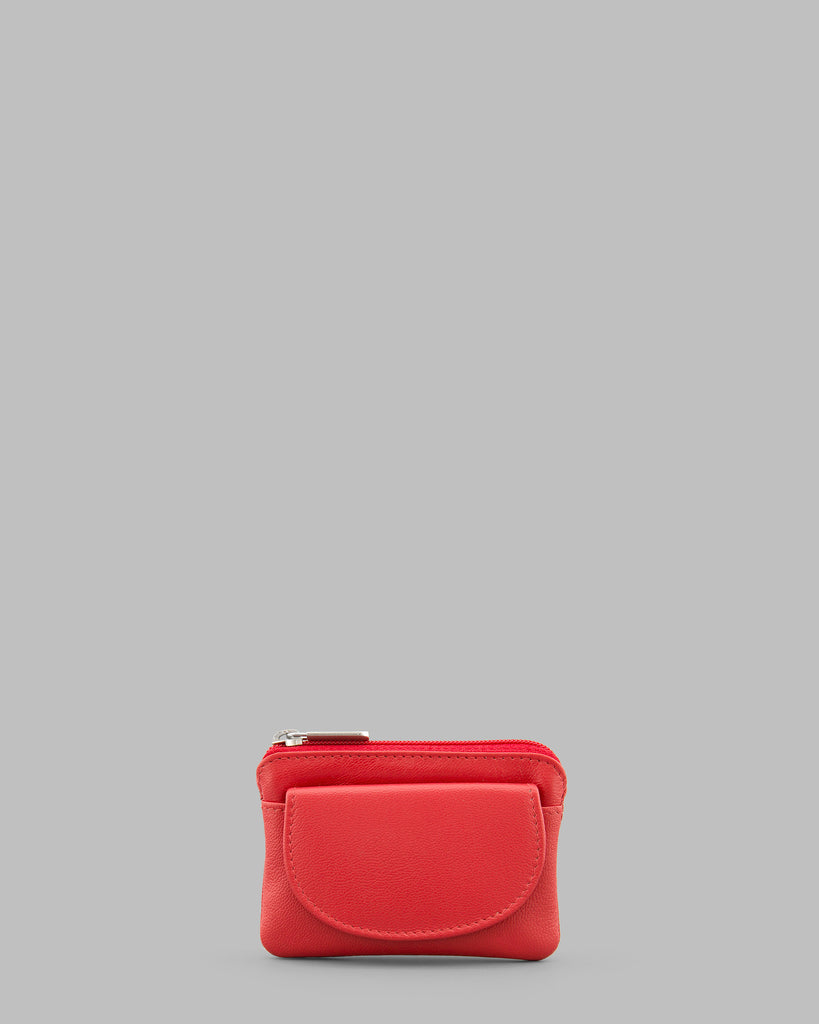 Red Leather Flap Over Coin Purse - Red - Y by Yoshi