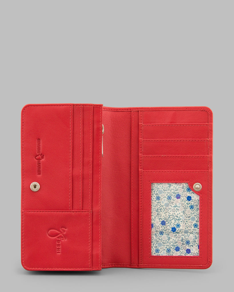 Red Leather Traditional Flap Over Purse - Yoshi