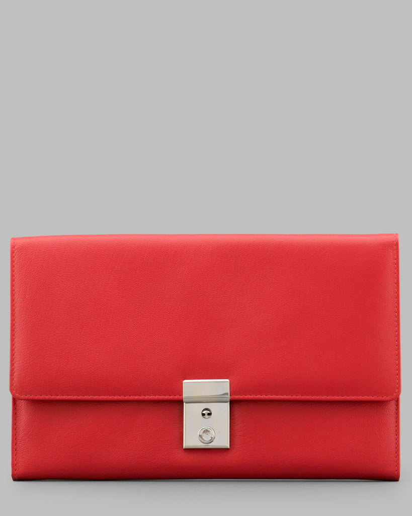 Red Leather Travel Document Holder - Yoshi