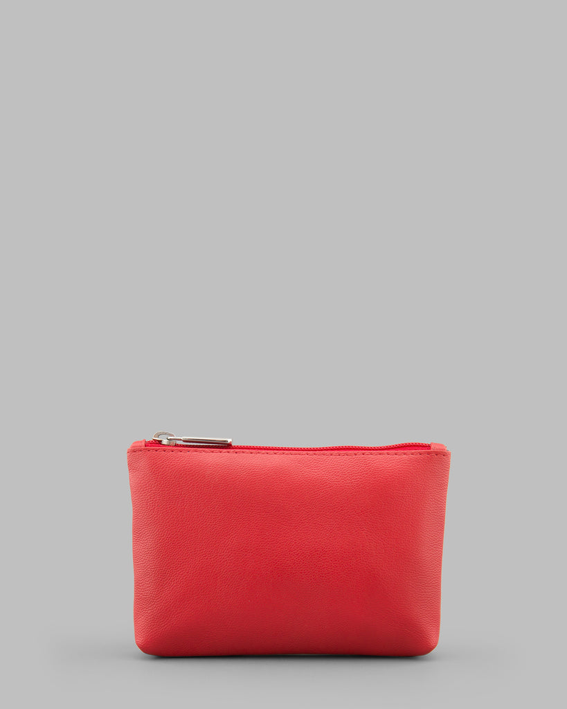 Red Leather Zip Top Purse - Red - Y by Yoshi