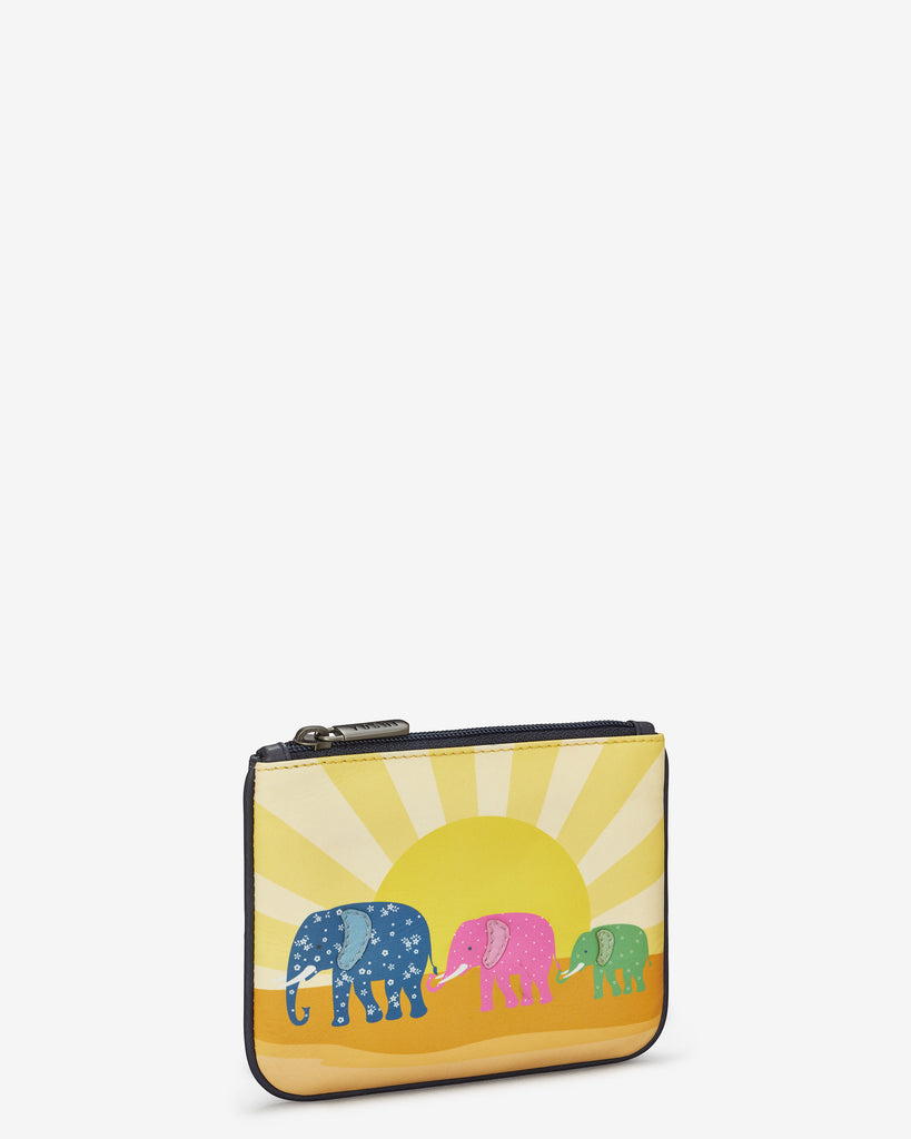 Elephant Family Zip Top Leather Purse - Yoshi