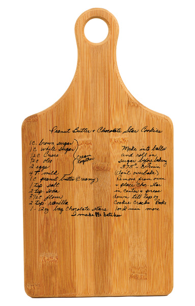 Personalized Handwritten Recipe Wood Paddle Cutting Board Bamboo 13.5 x 7