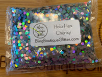 Silver Holographic Chunky Glitter - Holo Hex