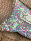 White Iridescent Chunky Mix Glitter - Luscious Dreams