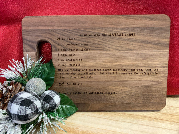 Personalized Handwritten Recipe Wood Cutting Board Walnut 9 x 6