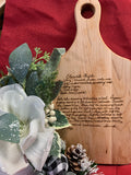 Personalized Handwritten Recipe Wood Paddle Cutting Board Maple 13.5 x 7