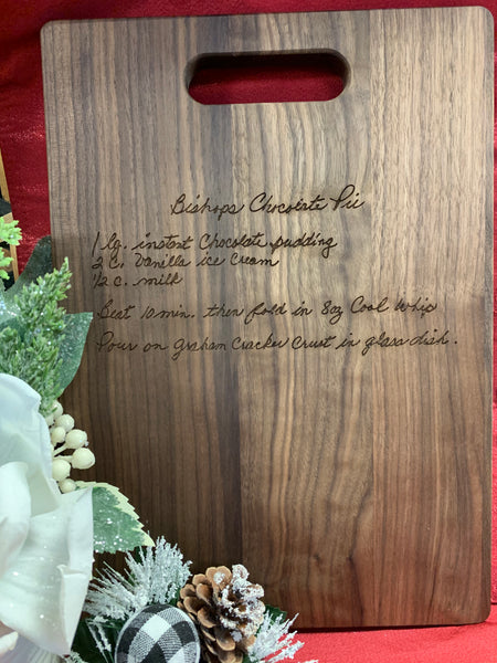 Personalized Handwritten Recipe Wood Cutting Board Walnut 13.75 x 9.75