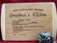 Personalized Handwritten Recipe Two-Tone Wood Cutting Board Bamboo 18 x 12