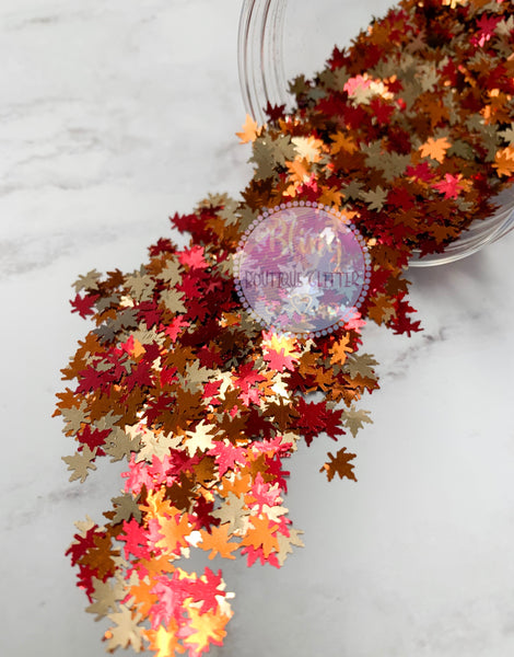Fall Leaf Glitter | Red | Gold | Copper - Autumn Beauty