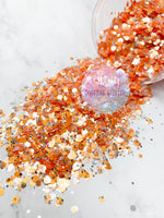 Tangerine/Orange and Silver Mirror Glitter - Cha Cha Tangerine