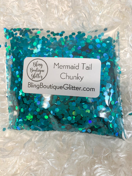 Teal Blue Chunky Holographic Glitter - Mermaid Tail Chunky