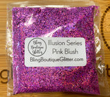 Pink Holographic Stripe Small Chunky Glitter - Illusion Series Pink Blush