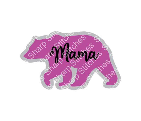 "Set of 5 - 3"" Mama Bear Acrylic Blanks With or Without Keychain Hole"