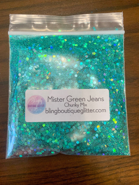 Green Holographic Chunky Mix Glitter - Mister Green Jeans Mix