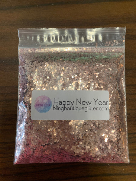 Soft Pink Champagne Chunky Mix Glitter - Happy New Year