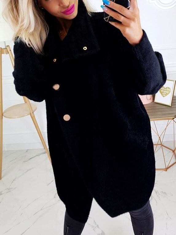 Shawl Collar Solid Long Sleeve Coat