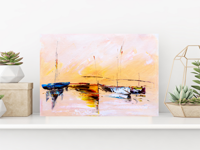 Tableau décoratif: Boats in The Sunset