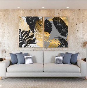 Tableau décoratif : Black & Gold leaves