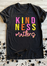 Load image into Gallery viewer, Kindness Matters Black V-Neck Graphic T