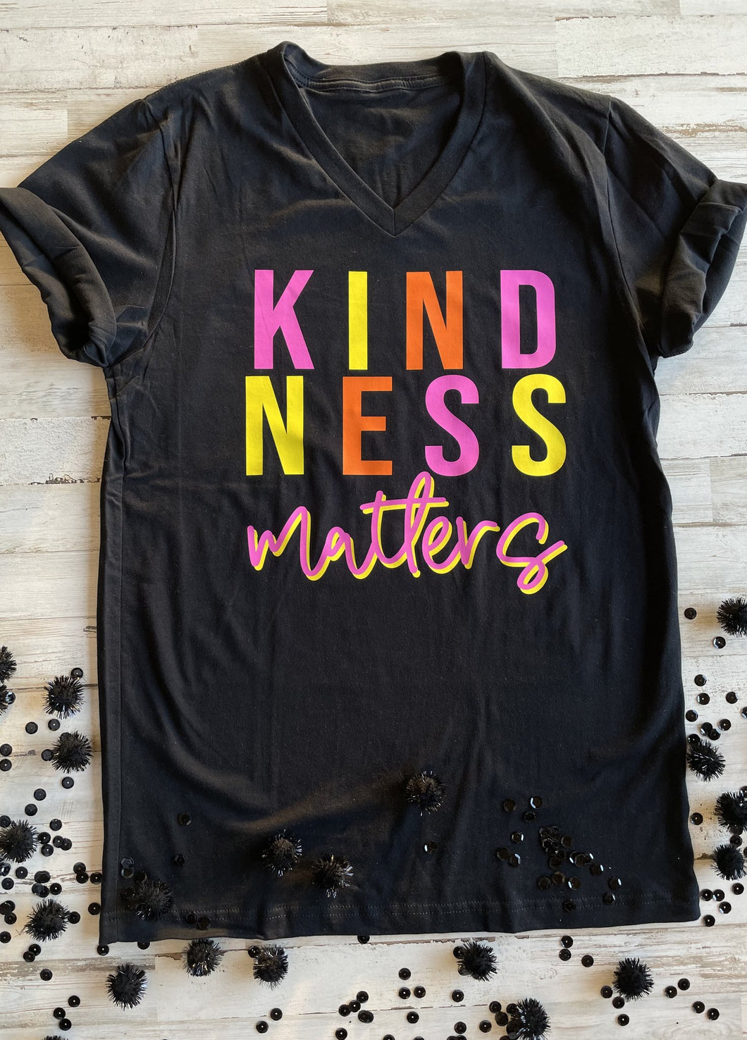 Kindness Matters Black V-Neck Graphic T