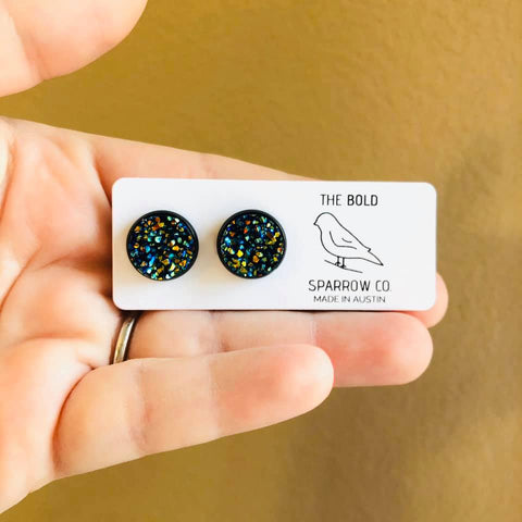Handmade 12mm faux druzy studs - various colors - Bold & Bright Boutique