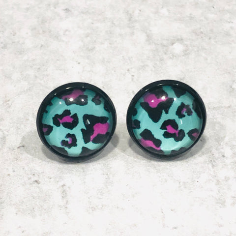 12mm Colorful Leopard Studs with Black Posts - Bold & Bright Boutique
