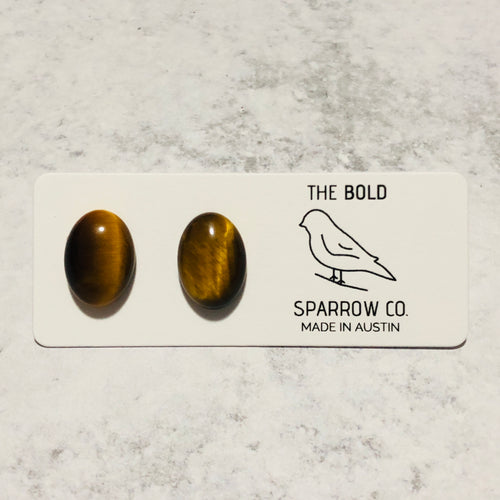 10x14mm natural stone oval studs - Bold & Bright Boutique