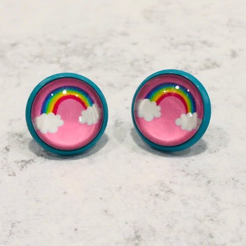 12mm pink and blue rainbow studs