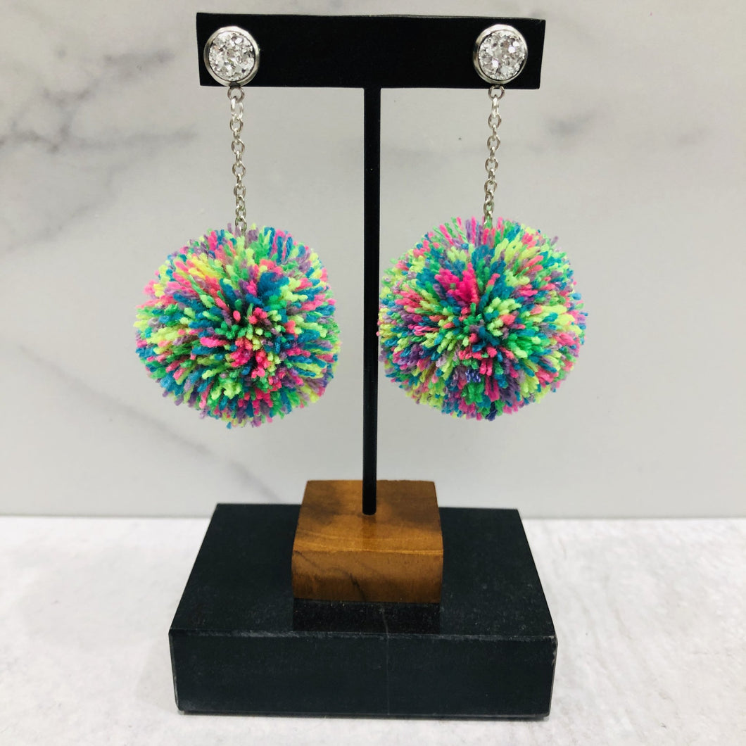 Skinny Pom Dangle Earrings - Multiple Colors