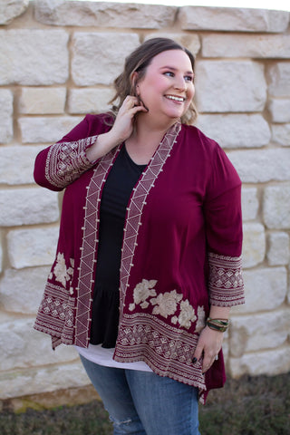 Embroidered Kimono - Bold & Bright Boutique