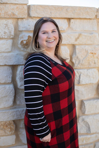 Red and Black Plaid Dress with Striped Sleeves and Pockets - Bold & Bright Boutique