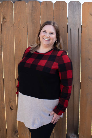 Red and White Buffalo Plaid Colorblock Top - Bold & Bright Boutique