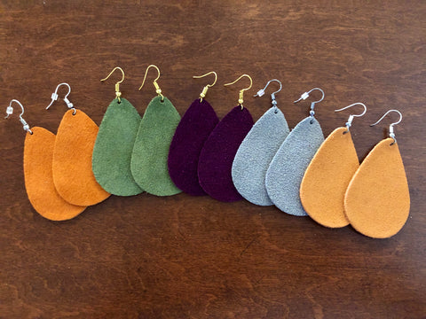 Solid Leather Drop Earrings - Bold & Bright Boutique