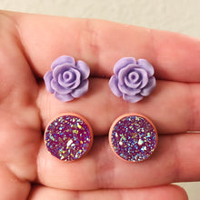 Load image into Gallery viewer, Handmade purple and peach rose and faux druzy stud earring set - Bold & Bright Boutique