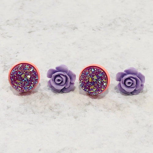 Handmade purple and peach rose and faux druzy stud earring set - Bold & Bright Boutique