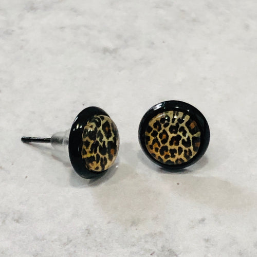 8mm Leopard Stud Earrings with black posts - Bold & Bright Boutique
