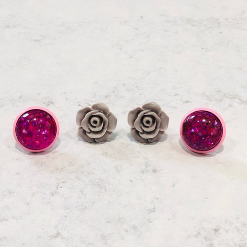 Pink and purple multi-colored round and gray rose stud earring set - Bold & Bright Boutique
