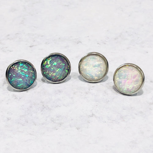 Iridescent purple and white round silver earring stud set - Bold & Bright Boutique
