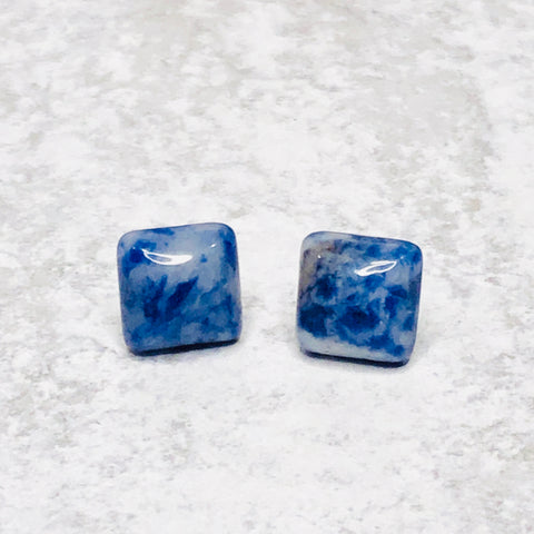 10mm Square Natural Stone Studs - Bold & Bright Boutique