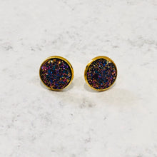 Load image into Gallery viewer, 12mm Faux Druzy Stud Earrings with Gold-tone Posts - Bold & Bright Boutique