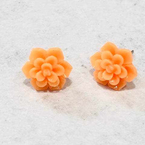 13mm light orange succulent stud earring set - Bold & Bright Boutique