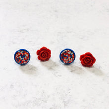 Load image into Gallery viewer, Party in the USA Red, White and Blue Rose and Glitter Stud Earring Set - Bold & Bright Boutique