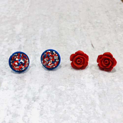 Party in the USA Red, White and Blue Rose and Glitter Stud Earring Set - Bold & Bright Boutique