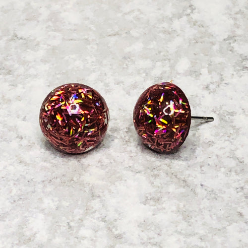 12mm Confetti Glitter Studs with Stainless Steel Posts - Bold & Bright Boutique