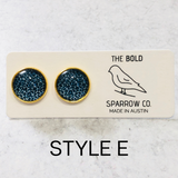12mm Leopard Gold Tone Round Stud Earrings - Multiple Colors Available - Bold & Bright Boutique