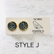 Load image into Gallery viewer, 12mm Leopard Gold Tone Round Stud Earrings - Multiple Colors Available - Bold & Bright Boutique