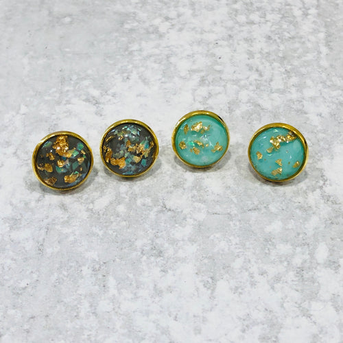 Gray and mint gold foil stud set - Bold & Bright Boutique